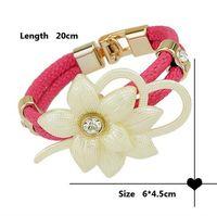 goldkette lederarmbänder großhandel-NEUE 2017 Frauen Handmade Flower PU Leder Kette Geflochtenen Seil Armband Armreif Kette Stil