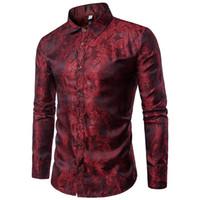 chemises brillantes en soie achat en gros de-Chemises de soie brillantes hommes Promotion automne manches longues coton occasionnels chemises de fleurs pour hommes Designer Slim Fit Chemises