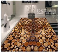 Wholesale self adhesive wallpapers - Self-adhesive 3D wallpaper customized 3D floor painting wall paper Tree section annual rings wood 3D floor bathroom wallpaper home decor