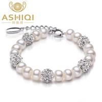 bijoux en argile naturelle achat en gros de-Réel d'eau douce naturelle Bracelet Bracelets pour les femmes 925 Sterling Silver Clay Pearls Bijoux Bracelet de Noël cadeau S18101507