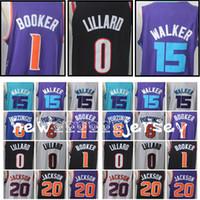 Wholesale fox jerseys - Men's 0 Damian Lillard 1 Booker jersey 2018 New 5 Fox 15 Walker 6 Kristaps Porzingis Stitched jerseys Free Shipping