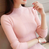 Wholesale korean formal woman shirt - 2018 autum women ladies long sleeve turtleneck slim fitting knitted thin sweater top femme korean pull tight casual shirts