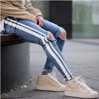 männer jeans skinny herren großhandel-Mens Blue Ripped Holes Jeans Seite gestreift Skinny Straight Slim Elastic Denim Fit Jeans männliche Mode lange Hosen Jeans