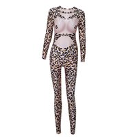 Wholesale Zebra Jumpsuit Women - Sexy Stretch Occasion Rompers for Women 2018 Nightclub Bar New Designer Female Long Skinny Stage Wear Fashion Jumpsuit Costume