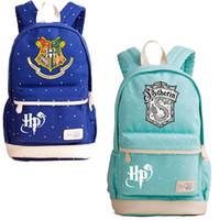 Wholesale rucksack outdoor laptop online - Harry Potter Hogwarts Canvas Backpack Styles Hogwarts Slytherin Hufflepuff Laptop Bag Rucksacks Student Travel Outdoor Bags OOA5504