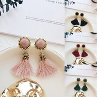 Wholesale sweet tins - Hot Sale Simple Retro Round Tassel Earrings Female Sweet Temperament Earrings Accessories 4 Styles For Women Gift D898Q