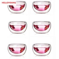 Preferred 6 Pieces lot double wall glass tea cup double Teapot Coffee Tea Set Puer Kettle With Filter Durable Tea Set