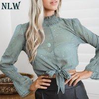 blusa de lazo azul al por mayor-NLW Perspectiva cuello alto Crop de manga larga Bow Femme Blusa Sexy Blue Volantes blusa Tops y blusas para mujer 2018