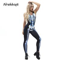 Wholesale skeleton yoga pants resale online - NRAHBSQT Women Yoga Jumpsuits Tight Printed Butterfly Skeleton Yoga Pants Black Fitness Leggings Sports Jumpsuits Rompers FZ045