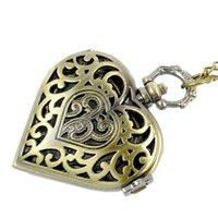 relógio de bolso de quartzo coração venda por atacado-50 pçs / lote coração oco relógio de bolso relógio de bolso Dial Pingente de Colar de Corrente de Quartzo Relógio de Bolso PW111