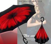 mãos guarda-chuva venda por atacado-Guarda-chuvas reversa Dobrar Camada Dupla Invertido C Mão Titular Estande Sun Chuva À Prova de Vento Rolando Sobre O Guarda-chuva Para As Mulheres Presente