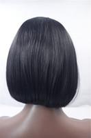 peluca azul de alta calidad al por mayor-Parte media NEGRO pelucas delanteras del cordón de las pelucas sintéticas marley katy perry peluca azul alta calidad bob estilo pelucas delanteras del cordón para las mujeres negras