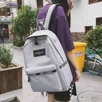 ingrosso libretto bianco-Zaino da viaggio Fashion Bookbag Satchel Zaino da donna Nero Bianco Solido in nylon da 15 pollici Zaini per laptop Escolar College