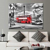 ingrosso manifesti bus-HD Prints Poster Living Room Wall Art Immagini su tela 1 pezzo / pezzo London City Streetscape Red Bus Paintings Home Decor Framework