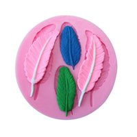 Wholesale silica gel cake mould - Round Silica Gel Molds Feather Model Chocolate Cake Baking Mould Easy To Clean Silicone Moulds High Quality 3dy B