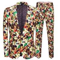 ingrosso vestito verde della mela-PYJTRL Mes Fashion Plus Size Verde Apple Print 2 Pezzi Set Mens Abiti con Pantaloni Smoking Casual Suit Uomo Slim Fit Smoking Homme