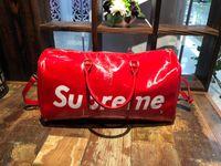 Wholesale zipper side bag - 2018 Sup Backpack Leather Lovers Travel Duffel Bags Shiny Side glaze Bags Stuff Sacks Sports Backpacks Outdoor Handbag Free Shipping