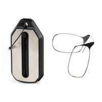 Wholesale Glasses Folding Mini - 2018 Keychain Mini Nose Clip Reading Glasses No Frame with Case Folding SOS wallet Presbyopic glasses