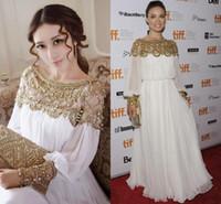 vestido de noche de gasa columna joya al por mayor-Moda Gasa Vestidos de noche Con cuentas Joya Cuello Longitud del piso Columna Suave Dubai Kaftan Abaya Celebrity Party Gowns Hot Prom Dress