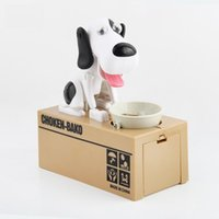 Wholesale bank animal - Stealing Dog Coin Bank Money Saving Box Piggy Bank Funny Cute Hungry Robotic Dog Eat Coin Piggy Bank Creative Gift For Kids