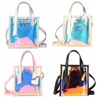 Wholesale laser cross - 4styles ins Womens Laser Jelly Holographic Bag Clear Transparent Small Tote Hologram Handbag Purse Laser Cross Body bag FFA516 50PCS