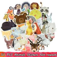 tablet sticker venda por atacado-50 PCS Bonito Animal Adesivos Brinquedos para Crianças Adolescentes Aquarela Decalques para DIY Tablet PC Bagagem Skateboard Snowboard Guitarra Garrafa de Água Carro