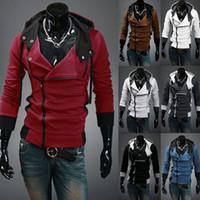 абажурские цвета с капюшоном оптовых-Оптовая продажа-M-6XL Стильный мужской Assassins Creed 3 Дезмонд миль костюм толстовка косплей пальто куртка 12 цветов бесплатная доставка