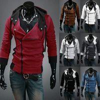 assassins creed hoodies geben verschiffen frei großhandel-Wholesale-M-6XL stilvolle Mens Assassins Creed 3 Desmond Meilen Kostüm Hoodie Cosplay Mantel Jacke 12 Farben Freies Verschiffen
