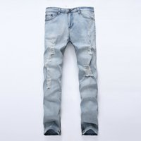 Wholesale Damaged Jeans - 2018 New Streetwear Mens Destroyed Jeans Hole Casual Pants Damage Jeans Fear Of God Ripped For Men Zipper Skinny Men