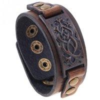 kunstleder schmuck großhandel-Mode Männer Frau Faux Rindsleder Retro Armband Einfache Schmuckzubehör