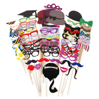 Wholesale lips mustache decorations - 76pcs  Set Colorful Fun Lip Mustache Creative Photo Booth Props Wedding Party Decoration Birthday Christmas New Year Event Favors