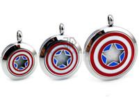 medallones indios al por mayor-Cadenas como regalo Ronda de plata logotipo de Capitán América (30 mm) de acero inoxidable aceites esenciales Difusor medallones de aromaterapia con almohadillas gratuitas