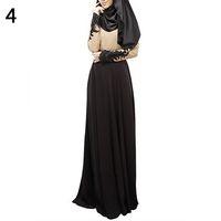 robes musulmanes islamic achat en gros de-Femmes Abaya Coran Kaftan Musulman Hijab Burqa Dentelle Maxi Robe Islamique