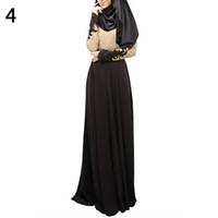 islamische maxi kleider großhandel-Frauen Abaya Koran Muslimischen Kaftan Hijab Burqa Spitze Langarm islamischen Maxi Kleid