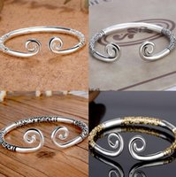 Wholesale silver magic jewelry resale online - Inhibiting magic phrase open bracelet design silver plated charm bracelet women and man jewelry nice party accessories lover birthday gift