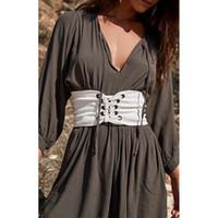 женская одежда корсет оптовых-New Women Lady Fashion Wide Buckle Elastic Stretch Corset Waistband Waist Belt