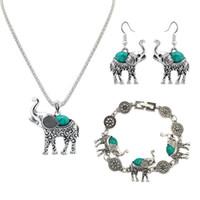 collares de imitación turquesa al por mayor-Juego de joyas 3 piezas Juego de joyas Elefante de moda de plata Collar creativo Juego Retro Imitación Turquesa Joyería