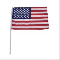 Wholesale american stick flags - 100pcs 14 *21cm A Plastic Stick Party American Handing Flag Polyester Material Handflag American Style Banner Ensign