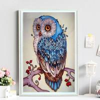 Wholesale home wall art painting online - 40 cm Owl Full D Diamond Painting Kit Decoración Del Hog Home Decor Wall Art Square Diamond Craft Supplies