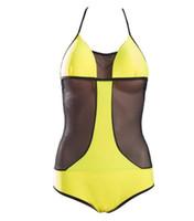 ingrosso giallo costume da bagno halter-Costumi da bagno donna New Beach Swimwear 2018 Costumi da bagno donna One Piece 10 colori Sexy Costumi da bagno Halter Costumi da bagno estate Backless Summer S-XL