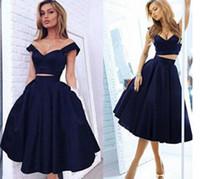 jolie robe de bal deux pièces achat en gros de-Pretty Navy Blue Col en V Costume deux pièces Robes de soirée Satin Sleeveless
