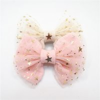 Wholesale gold hair bows - 10pcs  Lot Fairy Girl Hair Bow Clip Gold Copper Star Pendant Light Cream Pink Glitter Star Tulle Bow Knot Solid Barrette Sweet Hairpin