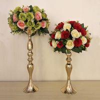 metal kurşun toptan satış-50 cm Yükseklik Metal Mumluk Mum Standı Düğün Merkezinde Çiçek Raf Yol Kurşun altın ve gümüş