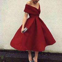más el tamaño de té vestidos de fiesta al por mayor-2019 Nuevo vestido de cóctel de color borgoño más el tamaño del hombro Longitud del té Vestidos de fiesta cortos de baile Vestidos de fiesta