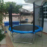 8 Feet High Quality Practical Trampoline With Safety Protective Net Jump Safe Bundle Spring Safety With Ladder Load Weight 300k