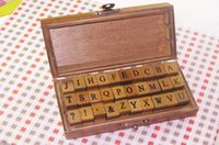 holz alphabet stempel gesetzt großhandel-DIY Brief Alphabet Stempel Vintage Teach Holz Alphabet Stempel Set Anzahl Stempel Set Holzkiste