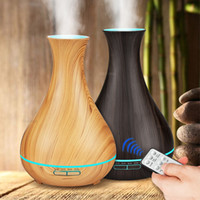 Remote Control Aroma Essential Oil Diffuser Ultrasonic Air Humidifier light Wood Grain Cool Mist maker LED Night Light for Home Office