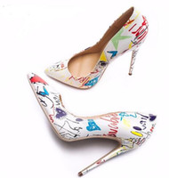 Wholesale colorful wedding dresses online - 2018 Red lBottom Specia Graffiti Colorful Women Pumps Sexy Stiletto high heels Spring Wedding Party Women Shoes sapato feminino