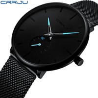 роскошные спортивные часы для мужчин оптовых-Crrju Fashion Mens Watches Top  Quartz Watch Men Casual Slim Mesh Steel Waterproof Sport Watch Relogio Masculino
