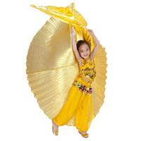 chicas trajes de baile de oro al por mayor-2016 muchacha hecha a mano traje de danza del vientre bebé ángel alas para niños Isis oro (sin palos) 31 colores CALIENTE al por mayor ...